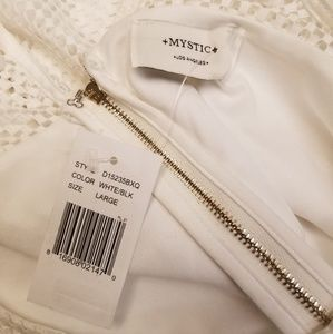 Mystic Dresses - NWT Mystic White Dress w/ Mesh Sleeve & Black Band